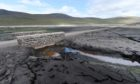 The Glascarnoch Dam in Ross-shire is currently at its lowest for several years revealing the old road to the west and Ullapool.