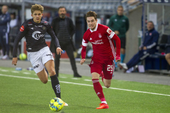 Scott Wright in action against Viking FK. Wright has been one of the Dons' creative outlets so far this term.