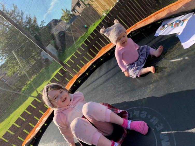 Scarlett Maher and her little sister Eleira during the Kiltwalk fundraising effort