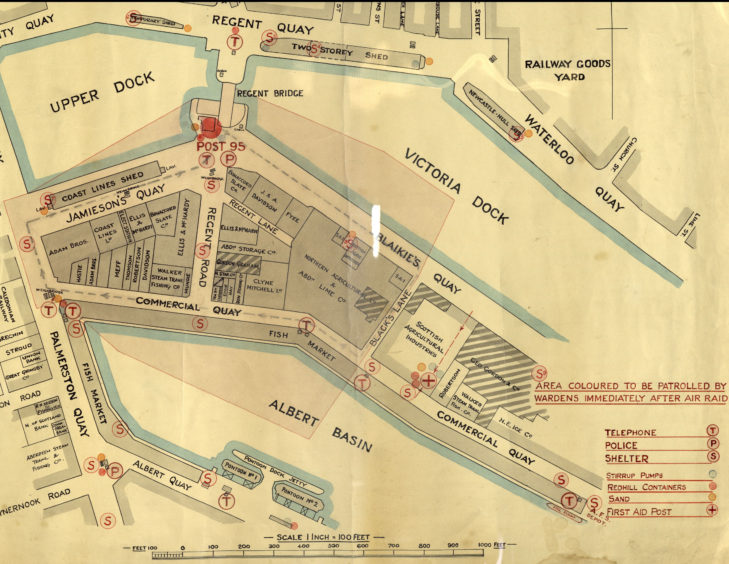 Plan of the harbour used in Aberdeen's Air Raid Precautions (ARP) during World War Two. Aberdeen was the most frequently bombed city in Scotland during the war and the harbour, with its links to the railways and shipbuilding and fishing industries, became a prime target for enemy attacks.