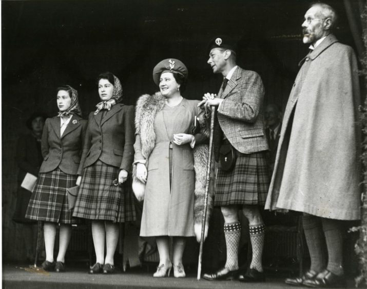 The Queen in the North-east 1946 at Braemar Gathering.