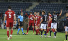 The Aberdeen players celebrate the first goal during the UEFA Europa League second qualifying round match between Viking Stavanger and Aberdeen