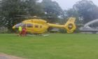 Emergency services attended the medical incident at Elgin Cathedral Picture shows; Air ambulance beside Elgin Cathedral. Elgin Cathedral. Courtesy David Hendry Date; 21/09/2020