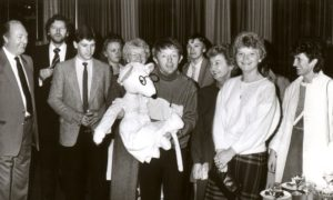 Magician Paul Daniels produces a cuddly toy for auction at the New Marcliffe Hotel, Aberdeen, in aid of charity in December, 1984. Among those looking on are Dons star Eric Black, third left.