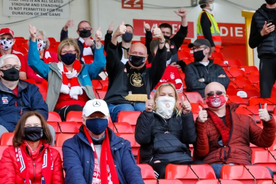 Some Aberdeen supporters were back at Pittodrie for Saturday's game against Kilmarnock