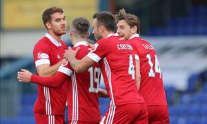 Aberdeen celebrate their third.