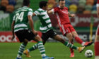 Aberdeen's Andy Considine in action against Sporting Lisbon.