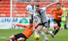 DUNDEE, SCOTLAND - OCTOBER 17: Aberdeen's Marley Watkins (R) and Dundee United's Calum Butcher during a Scottish Premiership match between Dundee United and Aberdeen at Tannadice Park, on October 17, 2020, in Dundee, Scotland. (Photo by Ross MacDonald / SNS Group)