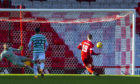 ABERDEEN, SCOTLAND - OCTOBER 25: Aberdeen's Lewis Ferguson scores to make it 1-0 during a Scottish Premiership match between Aberdeen and Celtic at Pittodrie Stadium, on October 25, 2020, in Aberdeen, Scotland. (Photo by Craig Foy / SNS Group)