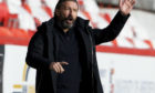 Aberdeen manager Derek McInnes during a Scottish Premiership match against Celtic.