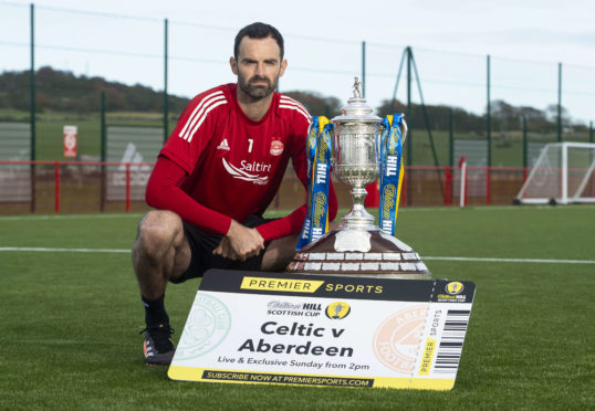 Joe Lewis with the Scottish Cup at Cormack Park.