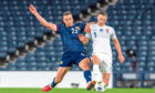 Andy Considine playing for Scotland against Slovakia.