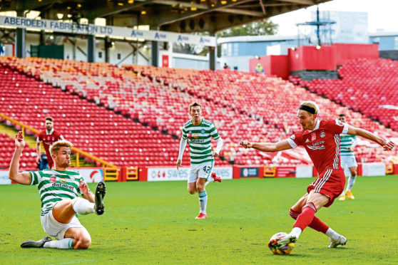 Ryan Hedges in action against Celtic for Aberdeen.