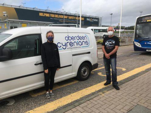 Emma Lindsay of Aberdeen International Airport and Ron Strachan of Aberdeen Cyrenians.