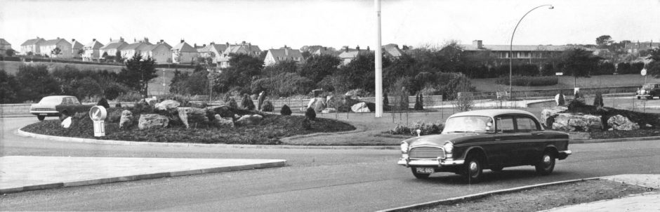 1968: The new elegant large roundabout at Bridge of Dee, Aberdeen.