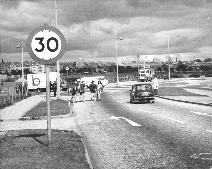 1970: The danger point on the Stonehaven road where children cross the road to go to school.