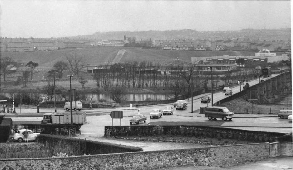 1971: The junction on the dual carriageway at Bridge of Dee which will soon be controlled by a traffic light system. At present cars queue-up across the bridge waiting an opportunity to turn onto the carriageway.
