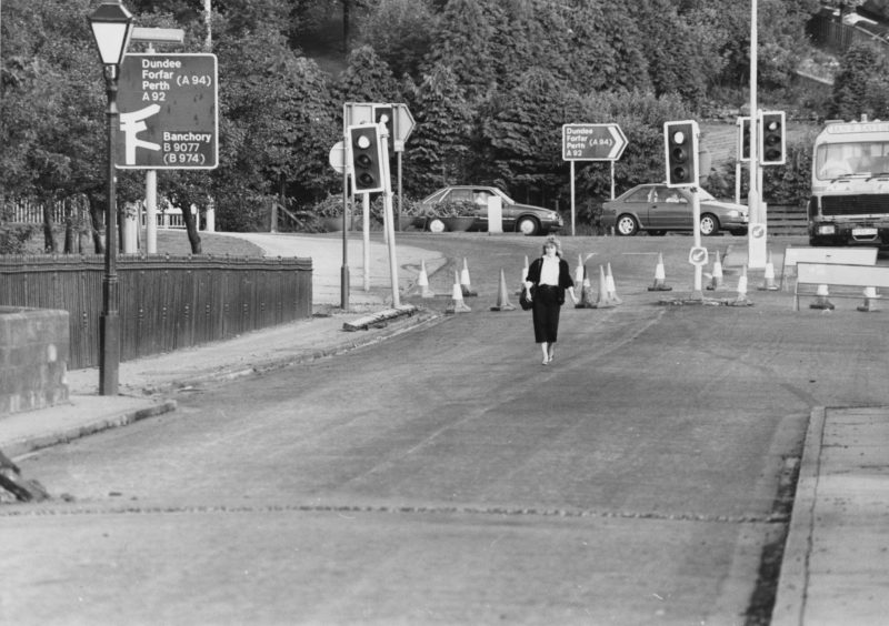 1988: An unusual rush-hour sight last night as a lone pedestrian strolls leisurely across the Bridge of Dee, one of the main arteries to-and-from Aberdeen's city centre.