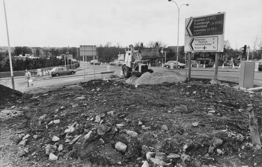 1989: Just a hole in the ground at the moment - but soon to be the new Bridge of Dee roundabout.