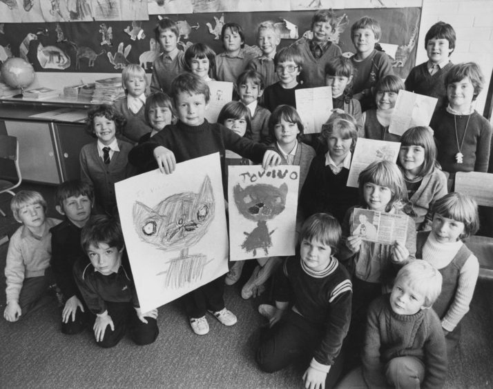 1982: The story of Volvo the stowaway kitten has fired the imagination of Miss Jean Corrigall and her pupils at Gordon Primary School, Huntly.