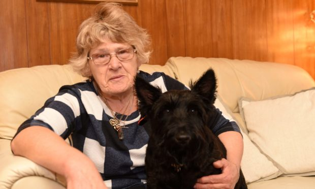 Wilma Donald, and her Scottie dog Chance.