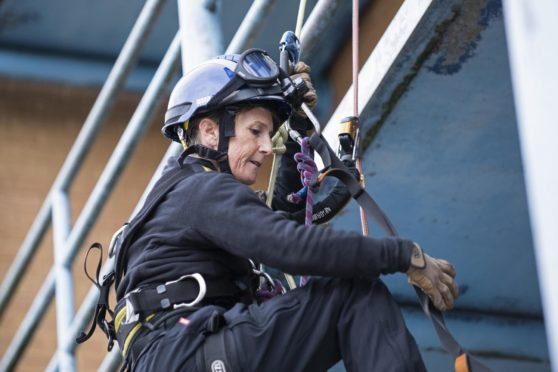 A firefighter during rope rescue training