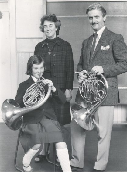 1980: Getting in some practice...Joanna Moody with teacher Prof. Bruce Jones and Mrs Dorothy Hately, secretary of the North-east of Scotland Music School.