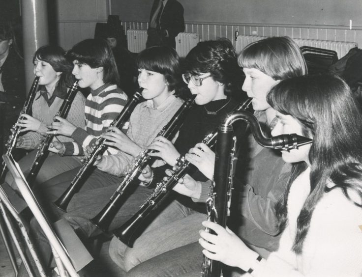 1981: he trumpet section of the Junior Concert Band and the clarinet section of the senior band put in some valuable practice at Aberdeen's Music Centre.
