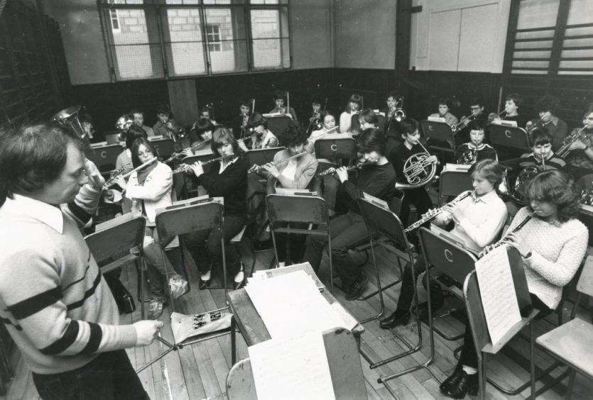 1982: Eddie McGovern conducting the Aberdeen Schools' Junior Concert Band at practice in Aberdeen Music Centre, Belmont Street.