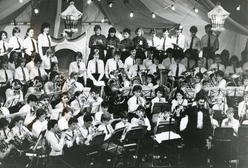 1985: Aberdeen Music Centre Brass Band playing during the Evening Express Concert of Christmas Music held in Powis Academy. Proceeds from the Concert are for the Happy Old Age Appeal for the elderly.