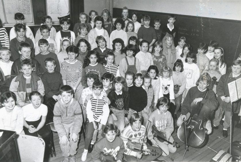 1988: Pictured preparing for the Evening Express Concert of Christmas Music are members of the Aberdeen Music Centre Primary Choir