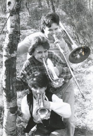 1989: Mackie Academy pupils (from top) Gillian Stewart (14) on trombone, Nicola Hamilton (15) on cornet, and Alison Mutch (14), also cornet.