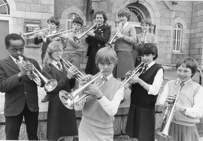 1983: Trumpets are sounding for Powis Academy pupil 13 year old Gayle Duguid (centre), Aberdeen. She won the trumpet 13 years and under brass section in the Aberdeen and North East Schools Music Festival.