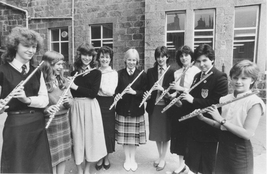 1985: Competitors in the Flute 18 and under at the Aberdeen Music Festival yesterday. Left to right - Sara Reith, Skene; Olga Melbin, Banchory; Katie O'Neill, Milltimber; Kate Samphier, Inverurie, Helen Bygrave, Inverurie; Paula Petrie, Aberdeen; Pamela Jenkins, Cove; Diane Milne, Cove; and Linda Gray, Auchterless.