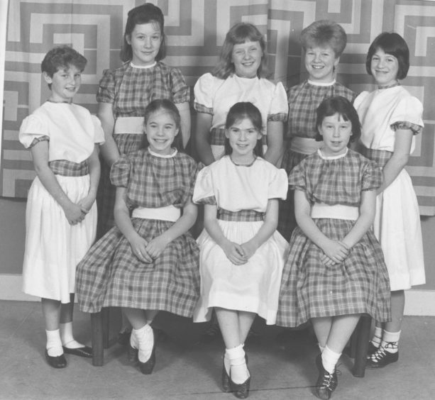 1987: Aberdeen and North East of Scotland Music Festival Scottish Country Dancing in Hall of Powis Academy, St Machar Drive. Elrick School...Standing left to right Andrea Bryce, Heather Sangster, Nicola Taylor, Denise Gemmell, Andrea Davis...seated left to right Claire Henshaw, Christina Allan and Lisa Littlejohn.