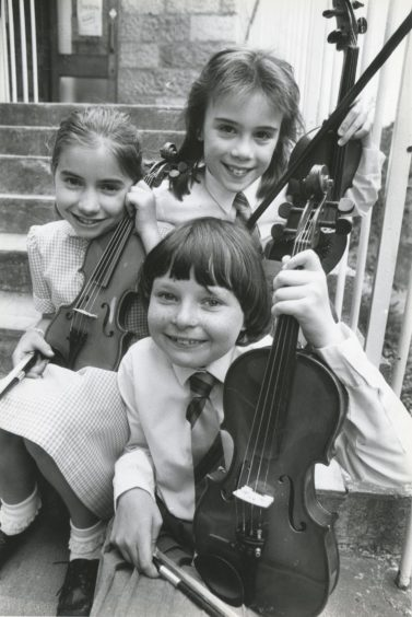 1988: These three violinists are all taught by travelling music teacher Miss Shelach Reid and took the top three places in the Violin nine and under contest. From the top are: Ashleigh Brechin, Hazlehead Primary; Joanna Dalgarno, Albyn School for Girls and Donna Taylor, Murifield School.