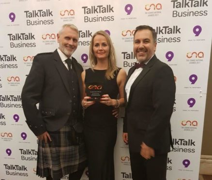 Pictured from left is David Ralston, network services manager, Fiona Fraser, managing director and Craig Forsyth, sales director at DF Communications.