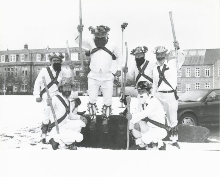 1992: Resplendent in their morris dancing costumes are these senior staff members of Aberdeen's Rowett Research Institute, who performed at the opening of the Rowett's HANSA unit. They are (from left): rear - Philip James, Bob Orskov, Ron Self, Ian Bremner; front - Jim Lomax and Peter Hotten. The unit has been established as the World Health Organisation's official centre for the analysis of data and the provision of nutritional advice for all areas of the wartorn former Yugoslavia.