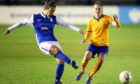 Birmingham City's Rachel Corsie passes past Everton's Lucy Graham during the Vitality Women's FA Cup semi-final match at SportNation.bet Stadium, Birmingham.