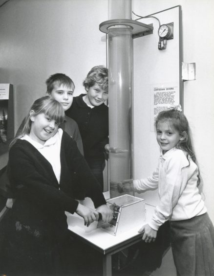 1990: Fraserburgh Central School pupils (left to right) Raquell Fawdry (9), Euan Thomson (11), Pamela Sutherland (9) and Margaret Third (9) finding out about the Cartesian Divers exhibit at Satrosphere