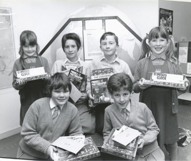 1990: Everyone's a winner: Satrosphere prizewinners (left to right) are Jennifer Simpson, St Margaret's. In front are Broomhill pupils Pearl Dewar and Louise Wood.