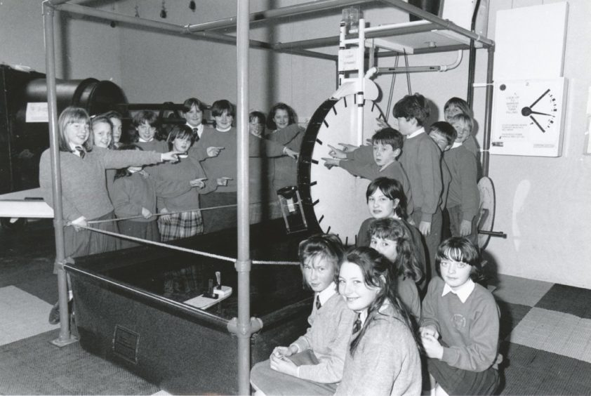 1991: Fettercairn School pupils headed for the hands-on science exhibition at Satrosphere, Aberdeen, yesterday to gain practical experience of some of the experiments on display. Left: Pupils of Primary 5, 6 and 7 gather round the water generator.