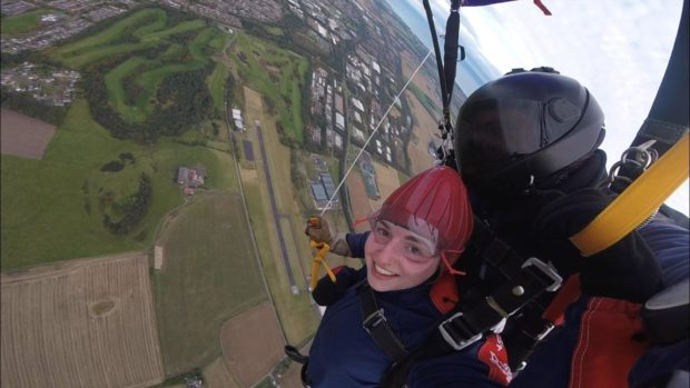 Ashleigh Lancaster during her skydive.