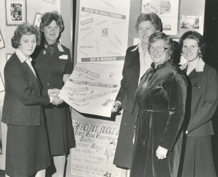 1982: Reading all about it on some of the locally made posters for the WRVS are (left to right) national chairwoman Mrs Barbara Shenfield, London; Mrs Muriel Scanlan, Grampian regional organiser; Scottish chairwoman the Hon. Mrs Mary Corsar; deputy Grampian regional organiser Mrs Joan Raffan; and Baillie Mrs Margaret Farquhar, who represented the Lord Provost.