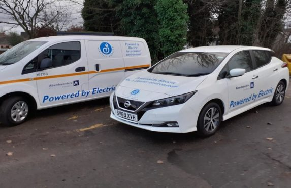 Two of Aberdeenshire Council's new zero-emission vehicles