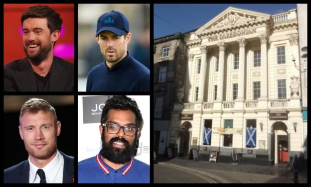 Clockwise from top left: Jack Whitehall, Jamie Redknapp, Romesh Ranganathan and Freddie Flintoff were spotted in the Caledonian in Inverness.