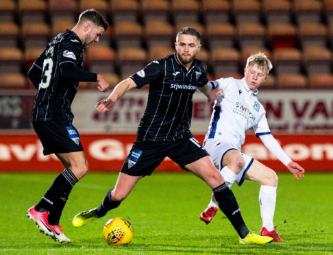 Lyall Cameron, right, in action for Dundee against Dunfermline last season