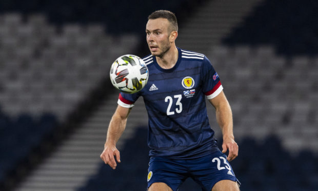 Andy Considine in action for Scotland on his international debut.