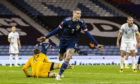 Lyndon Dykes celebrates after putting Scotland 1-0 up against Slovakia