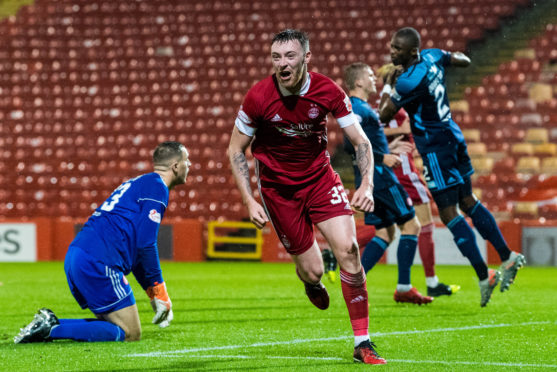 Ryan Edmondson celebrates his second and Aberdeen's fourth goal against Hamilton. The Dons were potent against Accies.